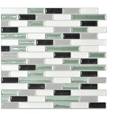 "Mosaik Muretto Prairie 10.20"" x 9.10"" Peel & Stick Wall Tile in White & Pale Green"