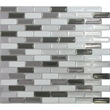 "Mosaik Murano Metallik 10.20"" x 9.10"" Peel & Stick Wall Tile in Silver Gray"