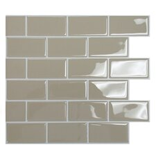 "Mosaik Subway Sand 10.95""x 9.70"" Peel & Stick Wall Tile in Medium Beige"