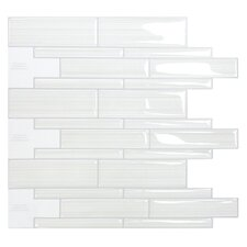 "Mosaik Infinity Blanco 10.51"" x 9.71"" Peel & Stick Wall Tile in White & Gray"