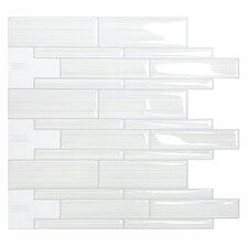 "Mosaik Infinity Blanco 10.51"" x 9.71"" Peel & Stick Wall Tile in White & Gray"