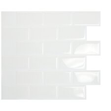 "Mosaik Subway White 10.95"" x 9.70 "" Peel & Stick Wall Tile in White"