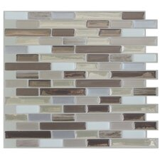 "Mosaik Muretto Durango 10.2"" x 9.1"" Peel & Stick Wall Tile in Beige & Gray"
