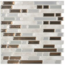 "Mosaik Bellagio Grigio 10.06"" x 10.00"" Peel & Stick Wall Tile in Gray & Bronze"