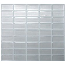 "Mosaik Stainless 10.61"" x 10.00"" Peel & Stick Wall Tile in Gray Metallic Reflect"