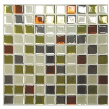 "Mosaik Idaho 9.85"" x 9.85 "" Peel & Stick Wall Tile in Beige & Olive Green"
