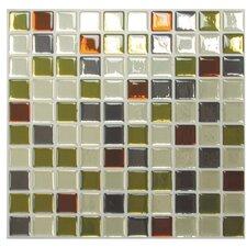 """Mosaik Idaho 9.85"""" x 9.85 """" Peel & Stick Wall Tile in Beige & Olive Green"""