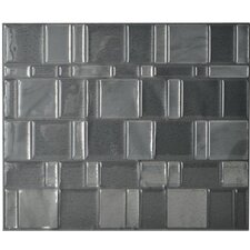 "Mosaik Tango Onyx 11.55"" x 9.64"" Peel & Stick Wall Tile in Light & Medium Gray"