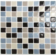 "Mosaik 9.85"" x 9.85"" Peel & Stick Mosaic tile in Blue, Beige and Brown"
