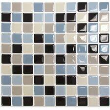 "Mosaik Maya 9.85"" x 9.85"" Peel & Stick Wall Tile in Blue, Beige, & Brown"