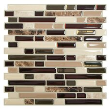 "Mosaik Bellagio Keystone 10.6"" x 10"" Peel & Stick Wall Tile in Brown & Beige"