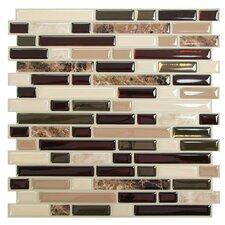 "Mosaik Bellagio Keystone 10.6"" x 10"" Peel & Stick Wall Tile in Brown & Beige"