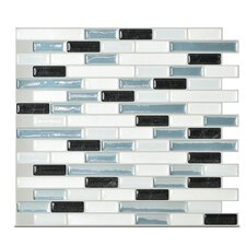 "Mosaik Muretto Brina 10.20"" x 9.10"" Peel & Stick Wall Tile in White, Light Blue Metallik"