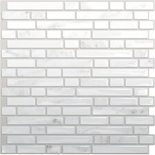 "Mosaik 10"" x 10"" Mosaic Tile in White & Gray"