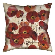 Bold Poppies Printed Throw Pillow