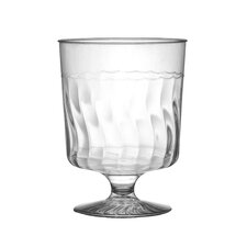 Flairware Rippled Disposable Plastic 8 oz. Wine Glass (240/Case)