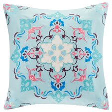 Medallion Embroidered Cotton Throw Pillow