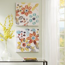 Sweet Florals by Karin Johannesson 2 Piece Painting Print Set on Wrapped Canvas