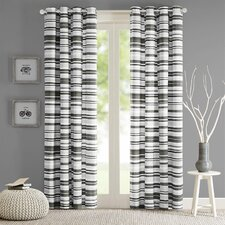 Sadie Cotton Stripe Printed Single Curtain Panel
