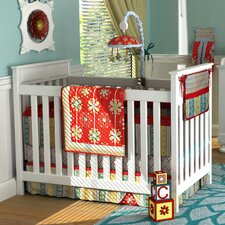 Red Graphic Floral 7 Piece Crib Bedding Set