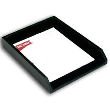 1000 Series Classic Leather Front-Load Letter Tray in Black