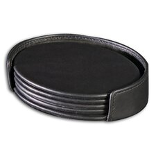 1000 Series Classic Leather Four Oval Coaster Set with Holder in Black