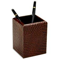 2000 Series Crocodile Embossed Leather Pencil Cup in Brown