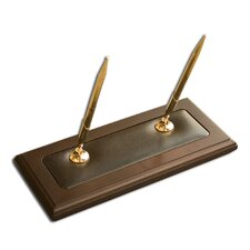 8000 Series Walnut and Leather Double Pen Stand