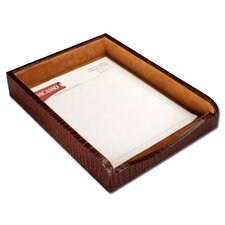 2000 Series Crocodile Embossed Leather Front-Load Letter Tray in Brown