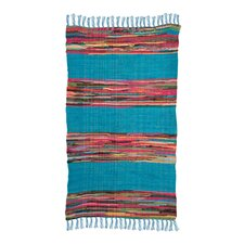 Mexican Hand-Woven Blue Area Rug