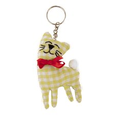 Decorative Gingham Fabric Cat Keyring