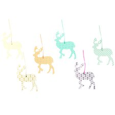 6 Piece Hanging Deer Hanging Figurine Set
