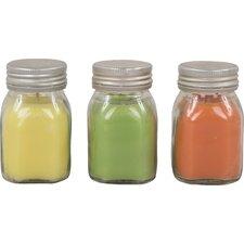 3-tlg. Kerze im Glasbehälter mit Zitronenduft