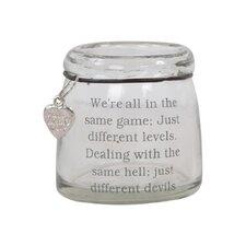 2-tlg. Teelichthalter Devil Slogan aus Glas