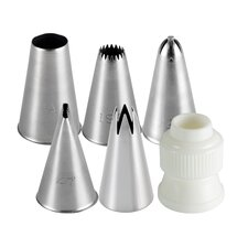 6 Piece Traditional Cupcake Decorating Tip Set