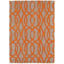 Handgewebter Teppich Matrix in Orange