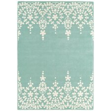 Handgewebter Teppich Matrix in Blau