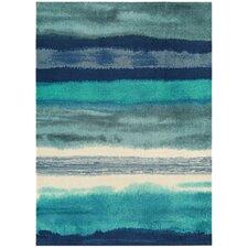 Handgearbeiteter Teppich Boca in Blau