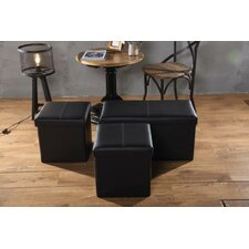 3 Piece Upholstered Storage Bench and Ottoman Set