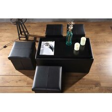 5 Piece Storage Bench and Folding Storage Ottoman Set