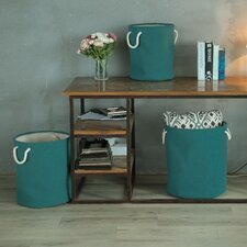 3 Piece Round Folding Storage Laundry Basket Set