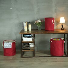 3 Piece Round Folding Storage Laundry Basket Set
