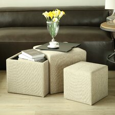 4 Piece Multi Functional Storage Ottoman Set