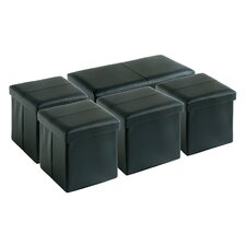 5 Piece Folding Upholstered Storage Bench and Ottoman Set