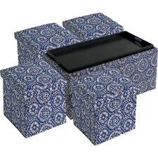 5 Piece Storage Bench and 4 Folding Storage Ottoman Set