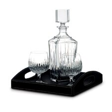 Soho Decanter Glass with Two Brandy Snifters and Leather Tray