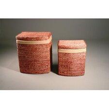 2-tlg. Wäschekorb-Set aus Maisstroh mit Innenfutter