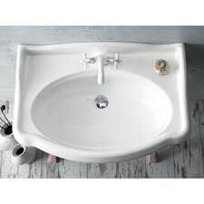Rectangle White Ceramic Wall Mounted Sink with Overflow