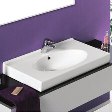 Rita Rectangle White Ceramic Wall Mounted or Self Rimming Sink with Overflow
