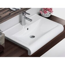 Rectangle White Ceramic Wall Mounted or Semi Recessed Sink with Overflow